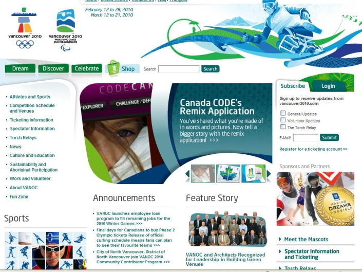 Linnea on VANOC home page